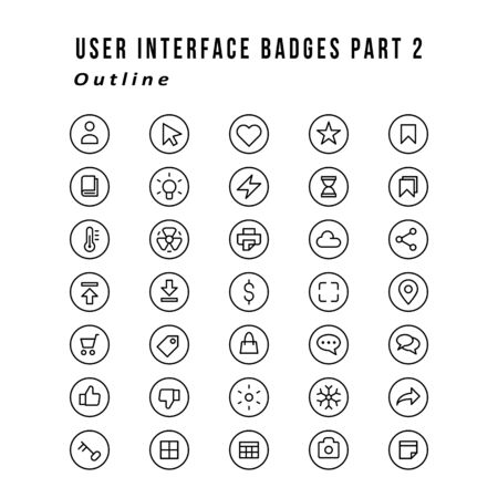A set of user interface icons that badge. Outline style
