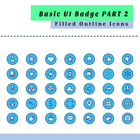 A set of basic user interface badge icons. With a style filled outline Vettoriali
