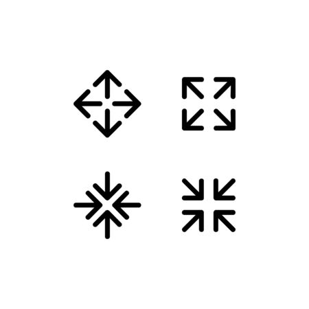 The arrow icons spread and gather in various directions Illustration