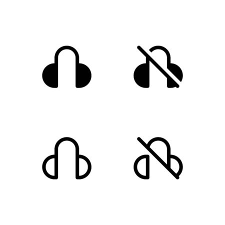 Headphones icon. With outline and glyph style Vecteurs