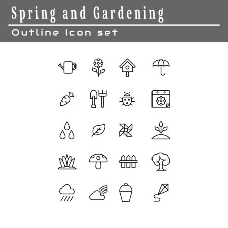 A set of icons about spring and gardening. Outline style