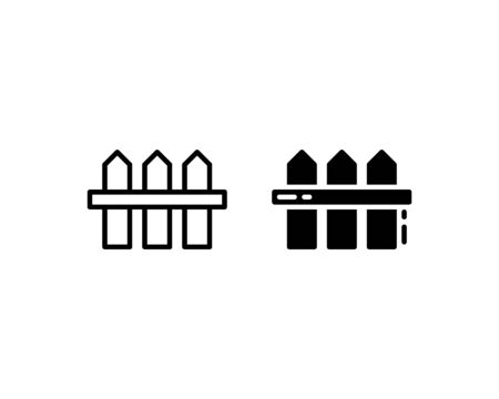 Garden fence icon. With outline and glyph style Vetores