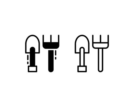 Shovel and pitchfork icons. With outline and glyph style