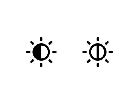 Brightness and contrast icon. With glyph and outline style Vectores