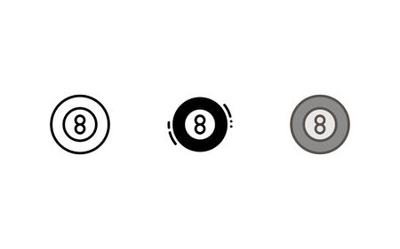 Billiard ball icon. With outline, glyph, and filled outline style