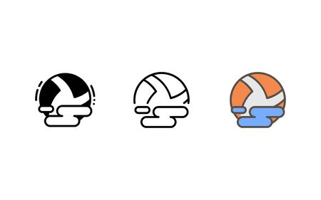 Water polo ball icon. With outline, glyph, and filled outline style