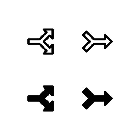 Branched and fused arrow icons. With outline and glyph style