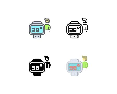 Infrared thermometer icon. With outline, glyph, filled outline, and flat style 向量圖像