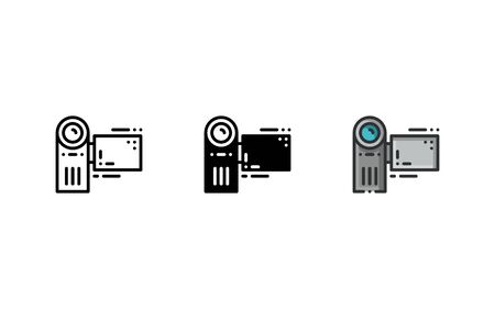 Digital video recorder icon. With outline, glyph, and filled outline style