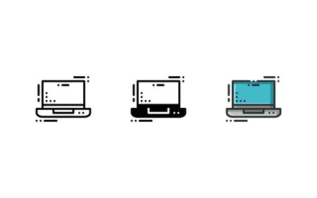 Laptop icon. With outline, glyph, and filled outline style 向量圖像