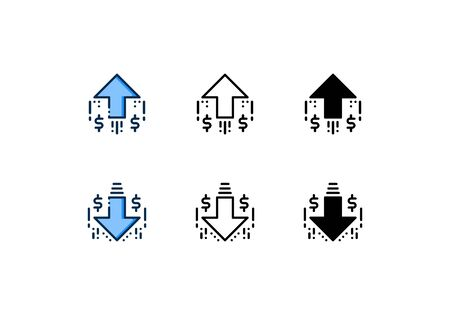 Icons of inflation and deflation. With outline, glyph, and filled outline style