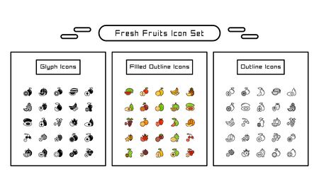 Fresh fruits icon pack. With outline, glyph, and filled outline style Иллюстрация