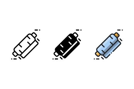 Plastic wrapper icon. With outline, glyph, and filled outline style