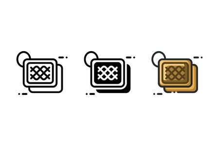Pot holder icon. With outline, glyph, and filled outline style 向量圖像