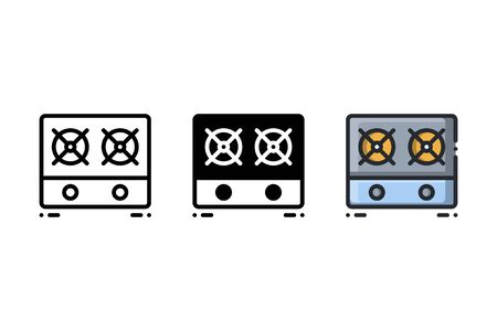 Gas stove icon. With outline, glyph, and filled outline style