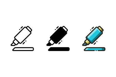 Highlighter pen icon. With outline, glyph, and filled outline style