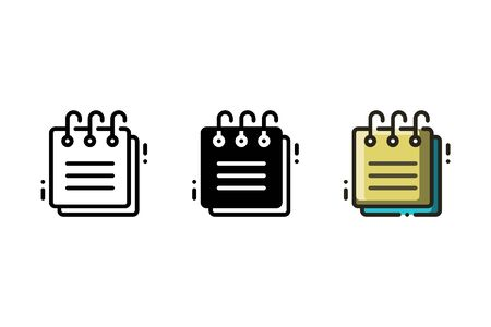 Notepad icon. With outline, glyph, and filled outline style 矢量图像