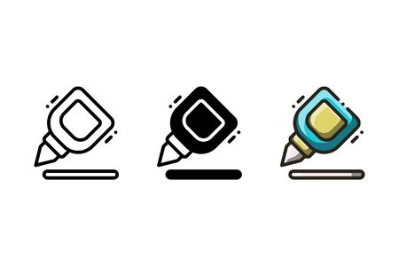Correction pen icon. With outline, glyph, and filled outline style