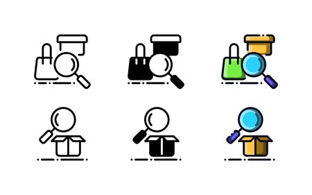 Search package and item icon. With outline, glyph, and filled outline style