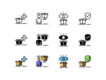 Delivery and courier icons. With outline, glyph, and filled outline style