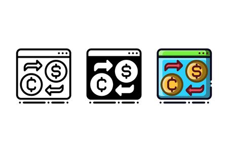 Digital money conversion icon. With outline, glyph, and filled outline style Illustration