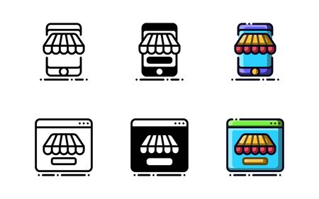 Online shop icon. With outline, glyph, and filled outline style