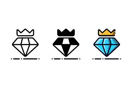 Diamond icon. With outline, glyph, and filled outline style