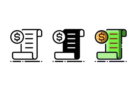 Shopping receipt icon. With outline, glyph, and filled outline style Vectores
