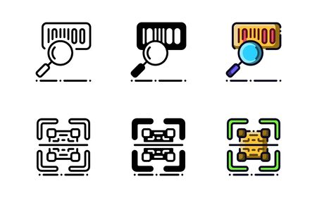 Barcode scanner icon. With outline, glyph, and filled outline style