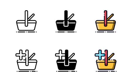 Shopping basket icon. With outline, glyph, and filled outline style