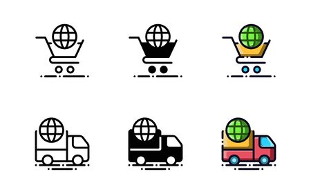 Online sales and global shipping icons. With outline, glyph, and filled outline style