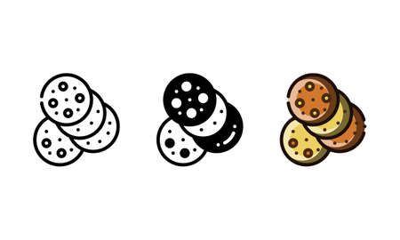 Cookie icon. With outline, glyph, and filled outline style