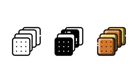 Crackers icon. With outline, glyph, and filled outline style Illustration