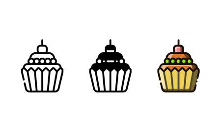 Cupcake icon. With outline, glyph, and filled outline style