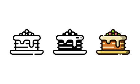 Brownie cake icon. With outline, glyph, and filled outline style