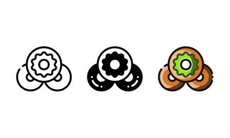 Donut icon. With outline, glyph, and filled outline style