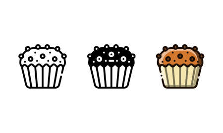 Muffin cookies icon. With outline, glyph, and filled outline style Illustration