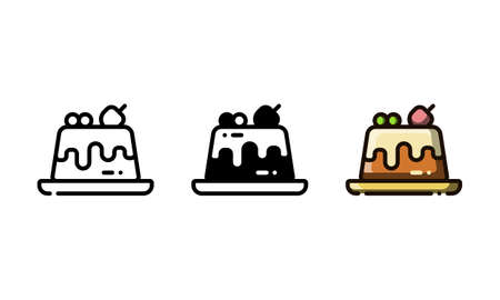 Pudding cake icon. With outline, glyph, and filled outline style Illustration
