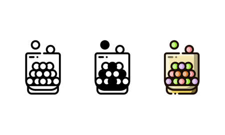 Chewing gum icon. With outline, glyph, and filled outline style  イラスト・ベクター素材