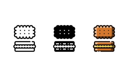Hard biscuit icon. With outline, glyph, and filled outline style Illustration