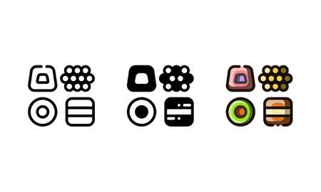 Licorice candy icon. With outline, glyph, and filled outline style  イラスト・ベクター素材
