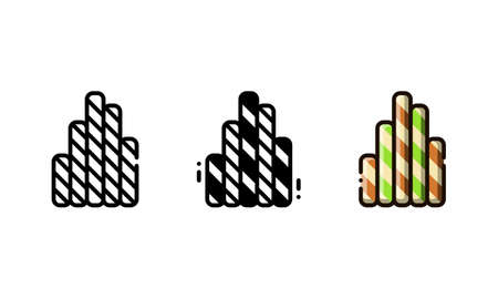 Wafer roll icon. With outline, glyph, and filled outline style