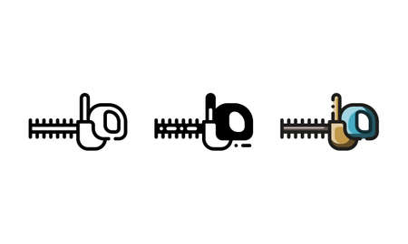 Hedge trimmer icon. With outline, glyph, and filled outline style
