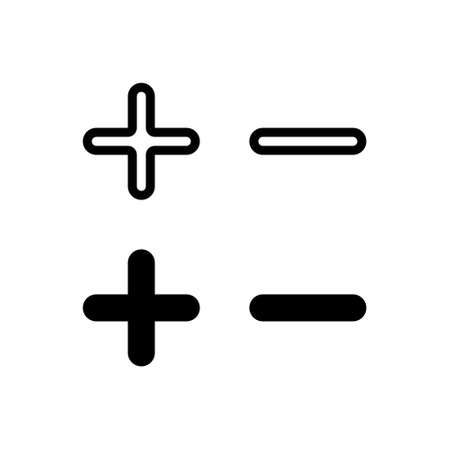 Add and subtract icons. With outline and glyph style