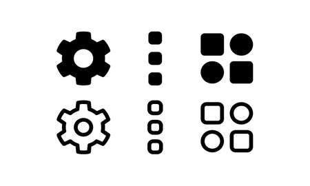 Settings and menu icons. Outline and glyph style