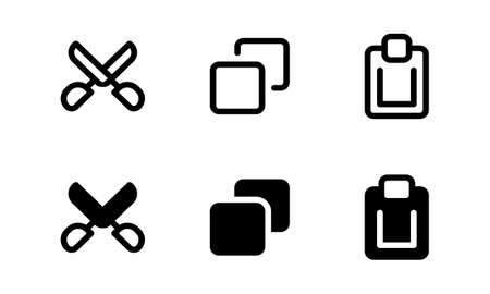 Cut, copy and paste icon. Outline and glyph style