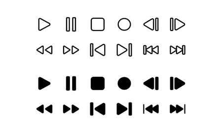 Media player icons. Outline and glyph style Vettoriali