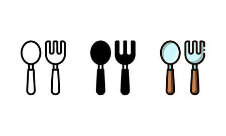 Cutlery icon. With outline, glyph, and filled outline styles
