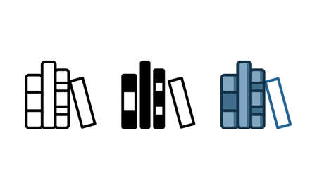 Library book icon. With outline, glyph, and filled outline styles Ilustracja