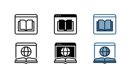 Online encyclopedia icon. With outline, glyph, and filled outline styles